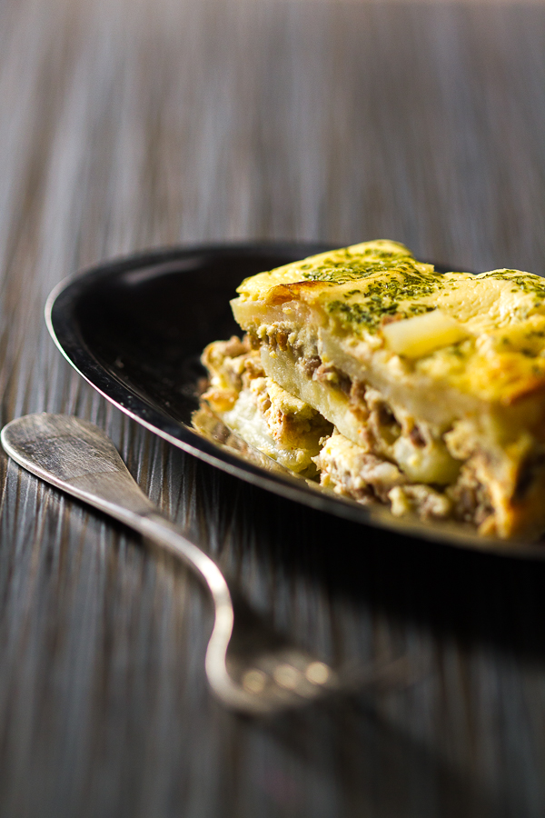 Ground beef potato moussaka balkan lunch box moussaka is a casserole type dish made by layering potato rounds and ground beef forumfinder Images