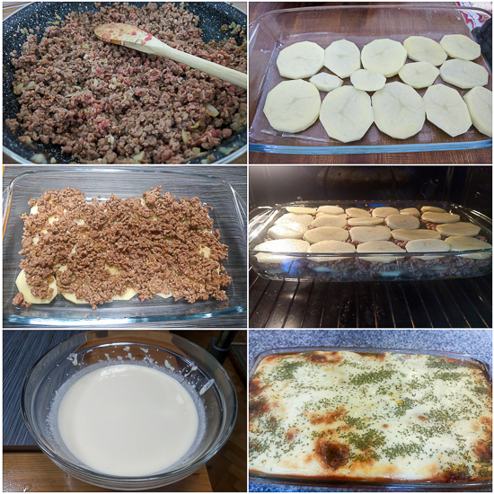 Moussaka is a casserole-type dish made by layering potato rounds and ground beef, which are then baked together and finished off with an egg, milk and sour cream topping