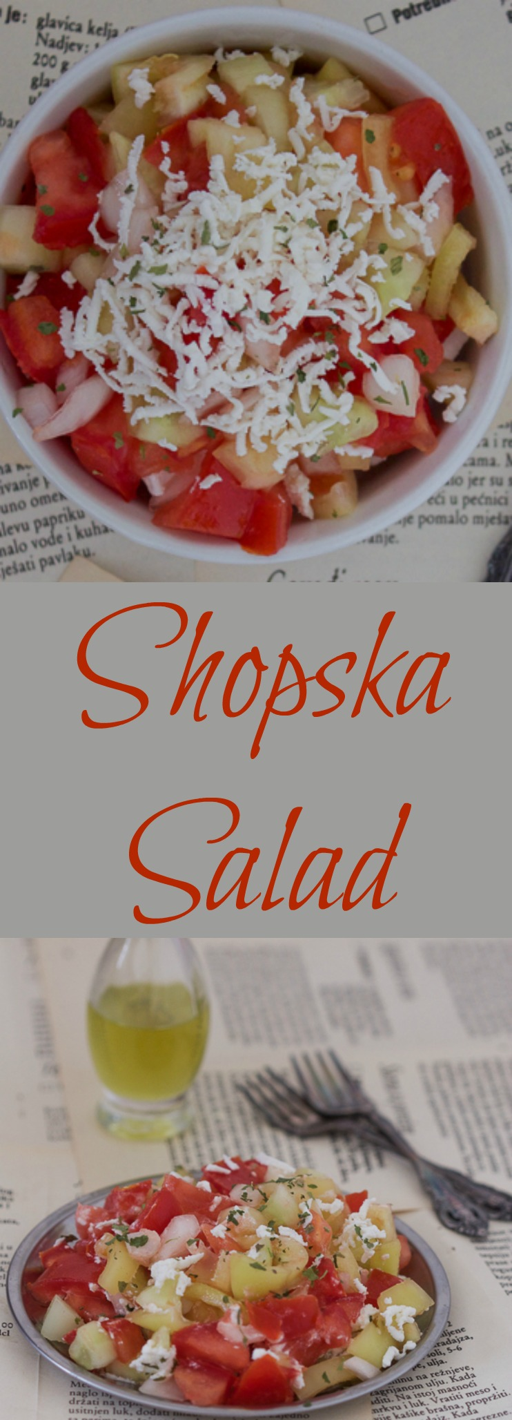 Shopska salad is a light, spring salad consisting of veggies with grated cheese on top. Perfect to take to a barbecue.