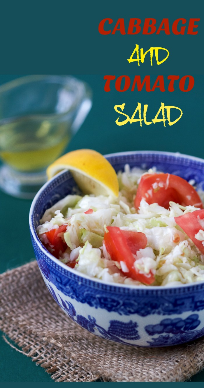 """""""Why didn't I hear about this salad before?"""" fresh shredded cabbage and tomato salad with a lemon vinaigrette."""