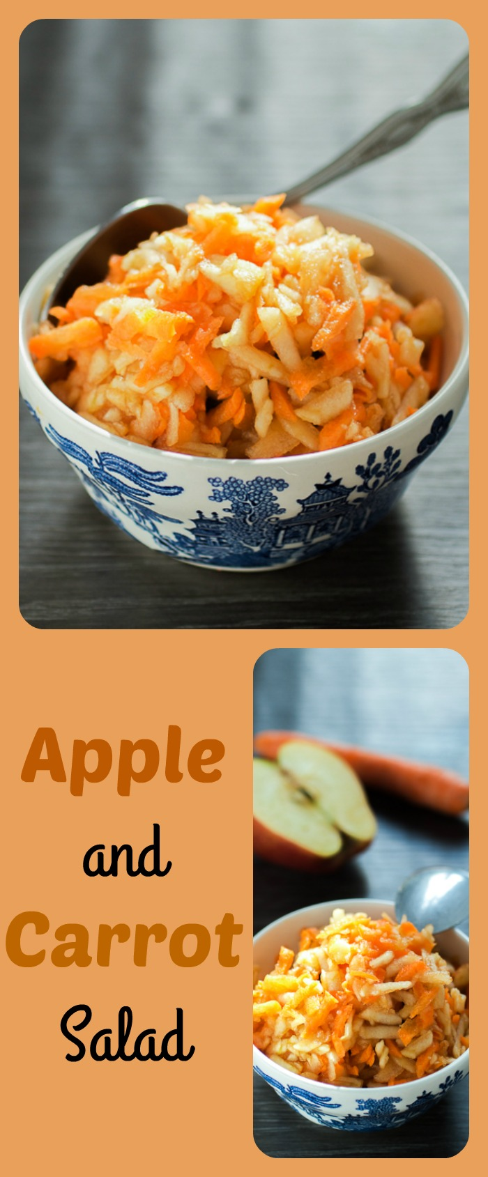 """Apple and carrot salad is more a dessert and less a salad. This simple 1:1 carrot to apple (grated) equation is the healthiest, but most appeasing answer to the quintessential question """"Is there anything sweet to eat in this house?"""""""