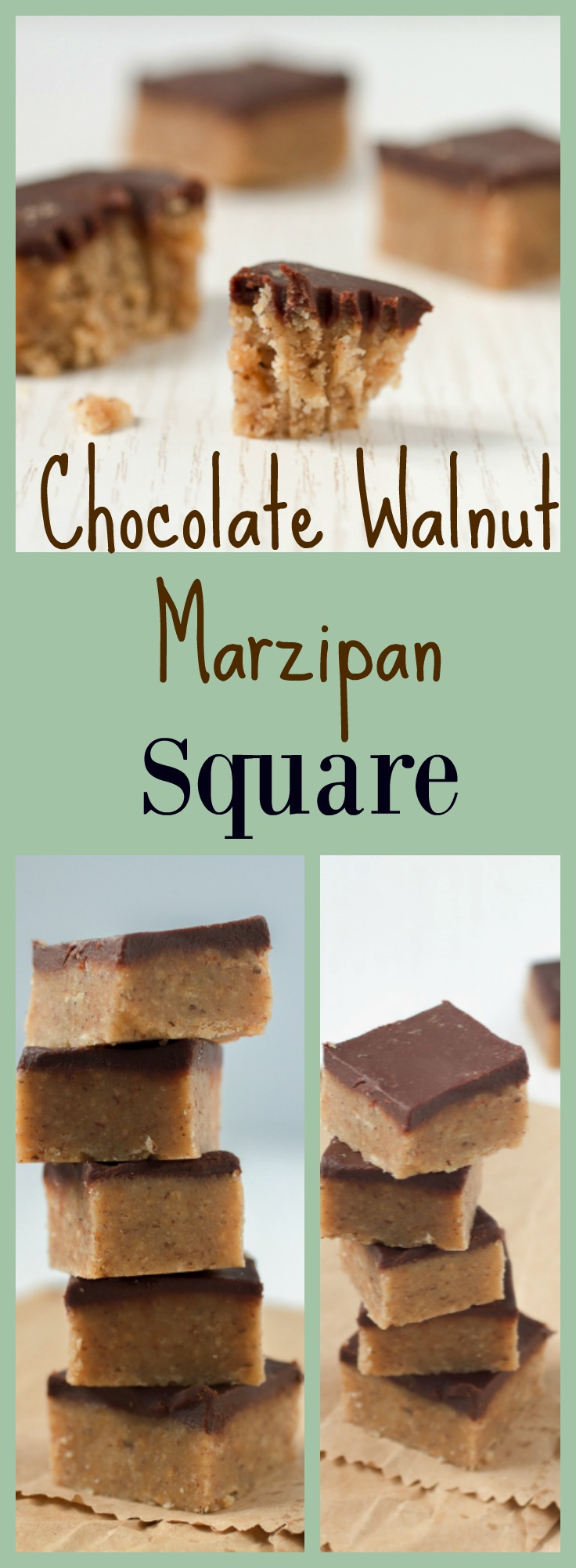 Chocolate Walnut Marzipan Squares: a unique take on an old favorite.
