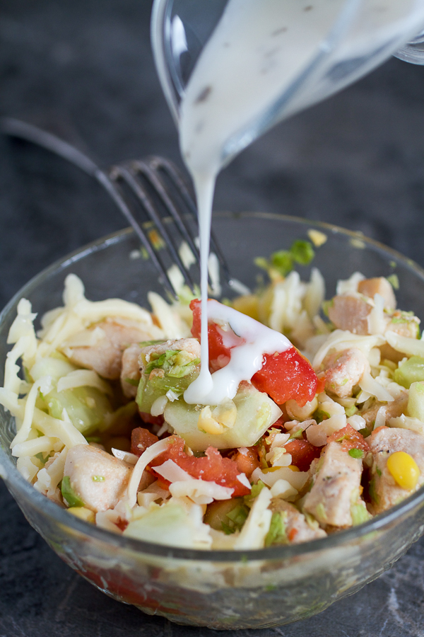 Chicken on a bed of shredded cabbage, mixed with summer favorites (corn, cucumbers and tomatoes), and topped with grated cheese and your favorite dressing.