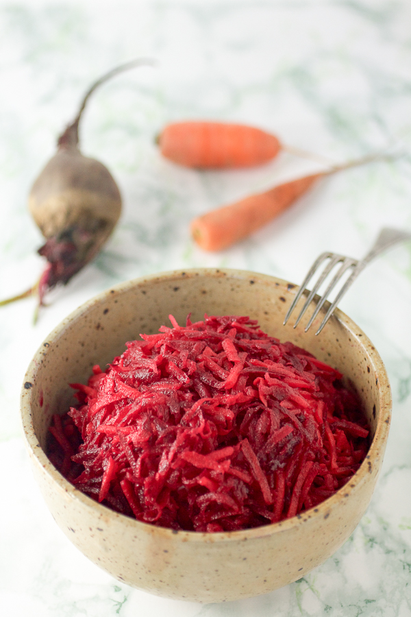 Healthy and tasty beet and carrot salad.