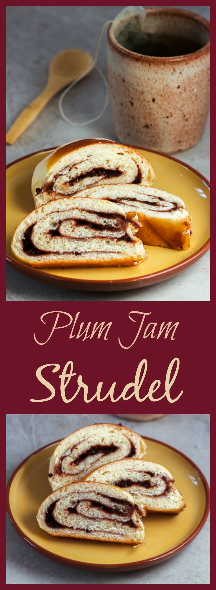 Soothe your appetite for pastries with a warm, plum jam filled strudel. All that this straightforward dessert requires from you is a little patience while waiting for the dough to rise. Perfect with a cup of tea on a rainy weekend afternoon.