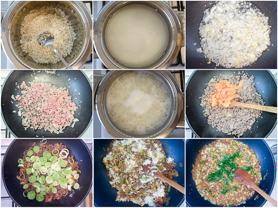 Leek and ground beef risotto, a quick, one-pan dish to get all your basics in: protein, carbs and fat.