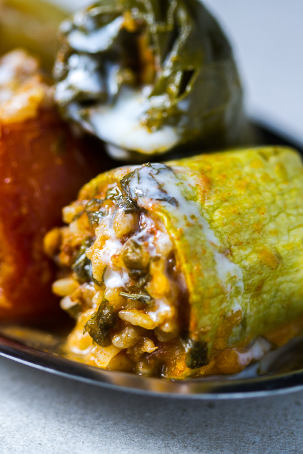 Dolmas, or stuffed vegetables, is maybe the most recognizable dish from the Balkans. Ground beef is mixed with onions, garlic plus spices, and used as a filling for several veggies (zucchini, onions, tomatoes, peppers and Swiss chard), until it's all finally baked it in a tomato sauce based sauce.