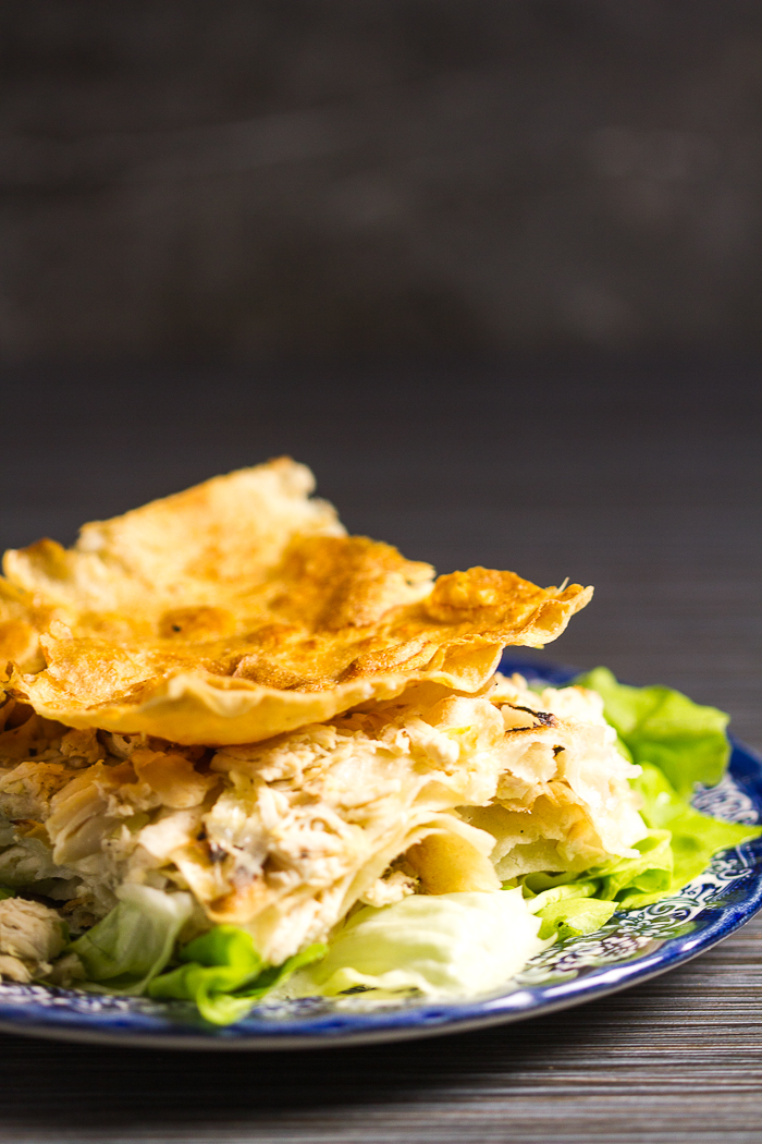 The most tender and soft chicken pie infused with homemade chicken broth. First the chicken is brought to boil until it gives its all to the broth, and then shredded.